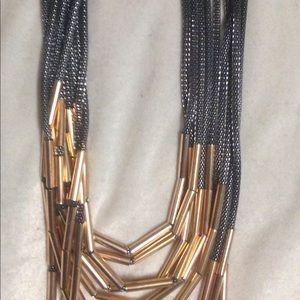 Ashley Stewart Gold Black Rope Necklace